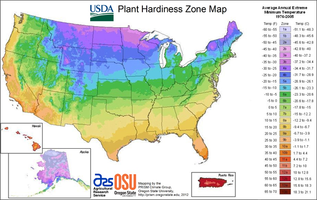 usda hardiness zones map